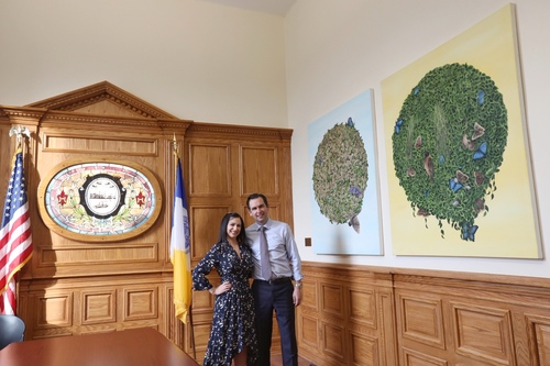 String Theory paintings hanging in the Office of The Mayor, City of Jersey City
